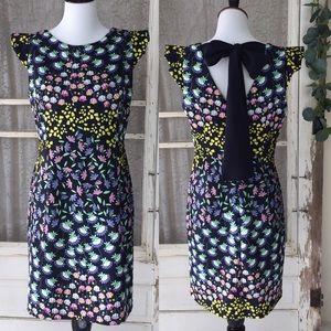 Nanette Lepore Navy Floral Crepe Bow Dress 8